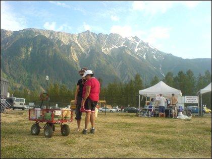 Festival workers selling fruit Live at Pemberton Festival 2008, Pemberton, BC, Canada