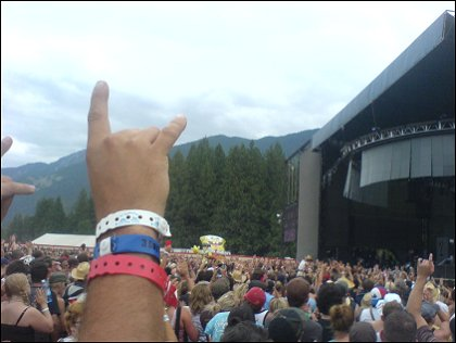 The crowd getting into it with all their wristbands Live at Pemberton Festival 2008, Pemberton, BC, Canada